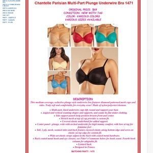 Chantelle Intimates & Sleepwear - Chantelle Plunge Bra 1471 CANDY APPLE, NUDE,PURPLE